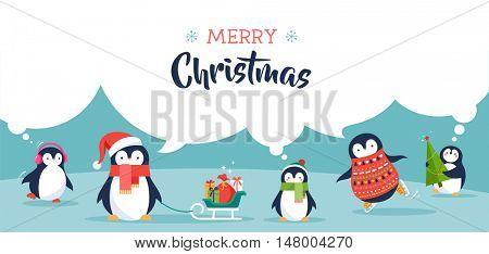 Cute penguins banner - Merry Christmas greetings