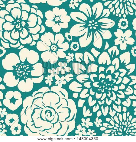 Seamless pattern with blooming flowers. Floral background
