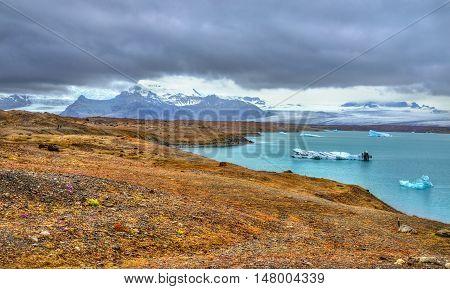 Icebergs in Jokulsarlon Glacier Lagoon, glacier Vatnajokull, Iceland