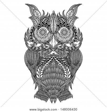 Hand drawn black white illustration owl fly bird. Art Coloring book page. Cute black and white sketch with floral ornament. Boho, tribal owl, vector