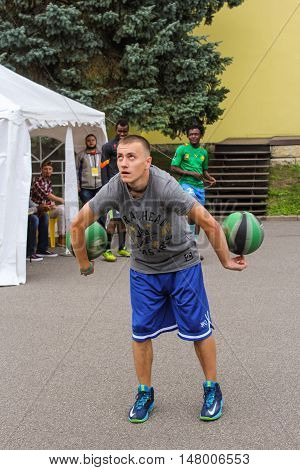 St. Petersburg, Russia - 13 August, An athlete with two balls,13 August, 2016. Performance of the ball virtuosos on Krestovsky Island in St. Petersburg.