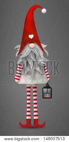 Nisser in Norway and Denmark, Tomtar in Sweden or Tonttu in Finnish, Scandinavian folklore elves, nordic christmas motive, Tomte with lantern on gray background, vector illustration, eps 10 with transparency