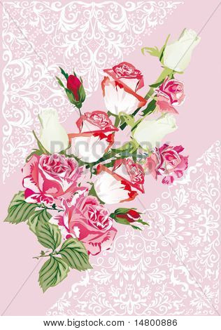 illustration with pink and white roses design