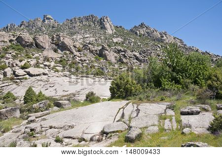 Mountain landscape at Sierra de la Cabrera, Madrid, Spain