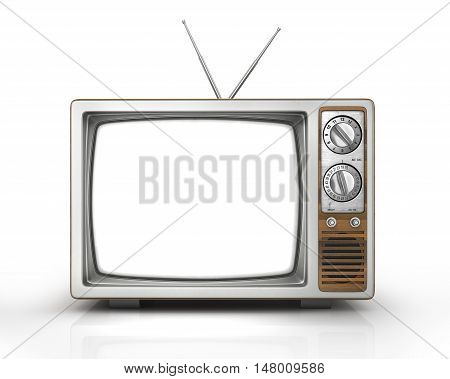 Mass media concept. The old TV with blank white screen on the isolated white background. 3d illustration