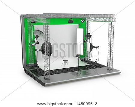 Concept studio. Photography Studio Equipment located on a laptop on a white background.3D illustration