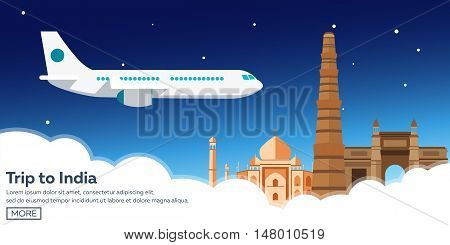 Trip To India. Tourism. Travelling Illustration. Modern Flat Design. Travel By Airplane, Vacation, A
