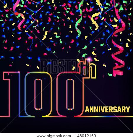 Vector Illustration of Anniversary 100th Outline for Design, Website, Background, Banner. Jubilee silhouette Element Template for festive greeting card. Shiny colorful Confetti celebration