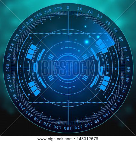 Radar screen. illustration for your design. Technology background. Futuristic user interface. Radar display with scanning. HUD.
