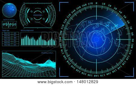 Military green radar. Screen with target. Futuristic HUD interface. Stock illustration.