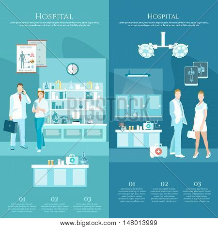 Medicine banners doctors and hospital interiors health service surgery operation room vector illustration