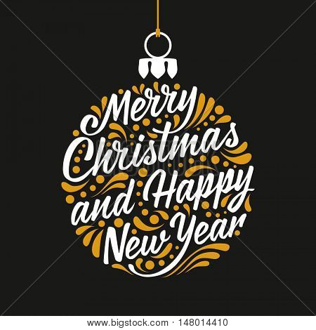 Holidays greeting card with a calligraphic lettering. Vector eps10 illustration. Merry Christmas and Happy New Year