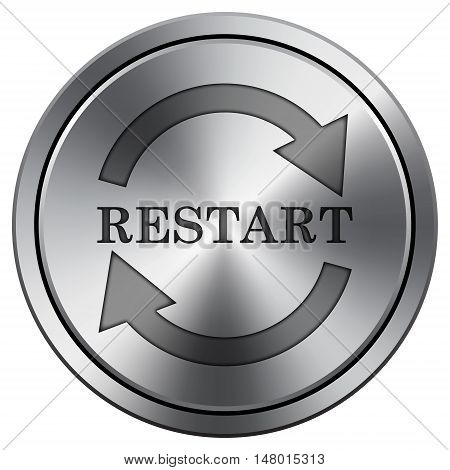 Restart Icon. Round Icon Imitating Metal.