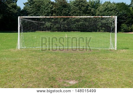 Football Goal Posts And Net On A Soccer Pitch