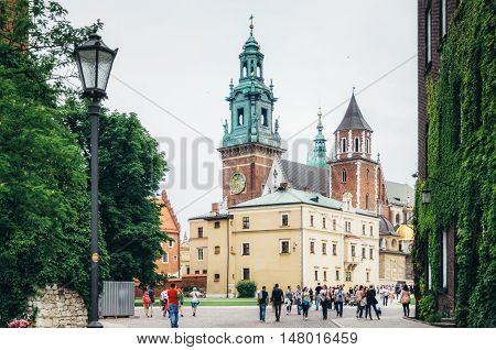 KRAKOW POLAND - JUNE 27 2015: Royal Archcathedral Basilica of Saints Stanislaus and Wenceslaus and Wawel Castle.