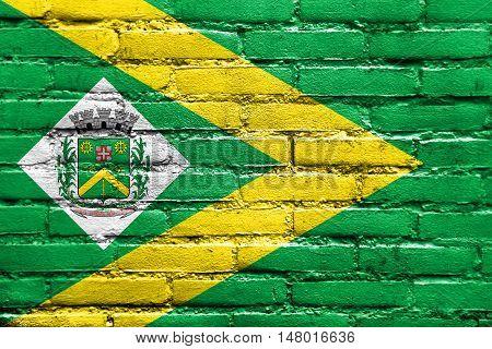 Flag Of Santa Barbara D'oeste, Sao Paulo, Brazil, Painted On Brick Wall