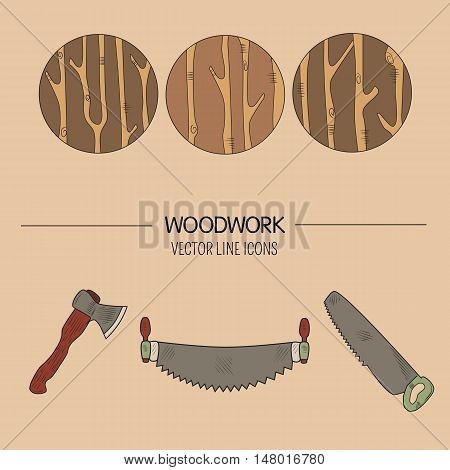 Line style vector set of woodwork symbols and timber industry