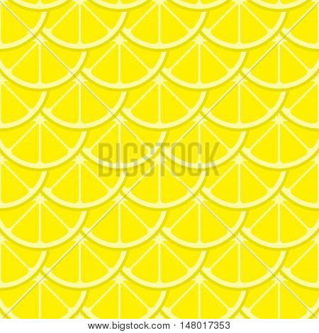 Vector bright lemon slices seamless pattern. Background with natural citrus illustration