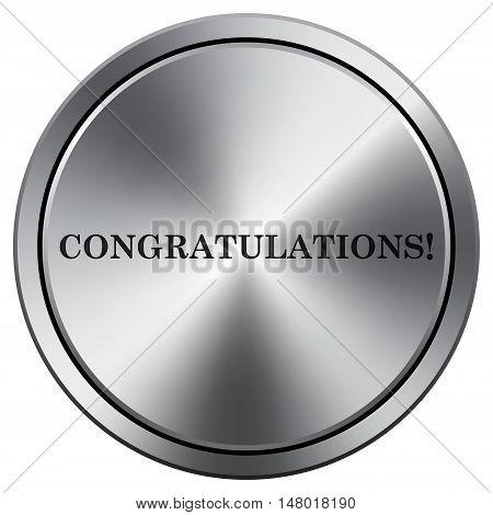 Congratulations Icon. Round Icon Imitating Metal.
