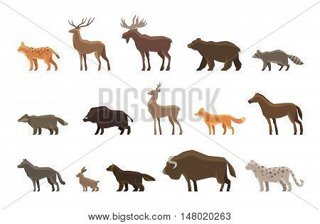 Animals icon set. Vector symbols lynx, deer, elk, bear, raccoon, badger, wild boar, roe deer, fox horse wolf hare musk ox snow leopard wolverine