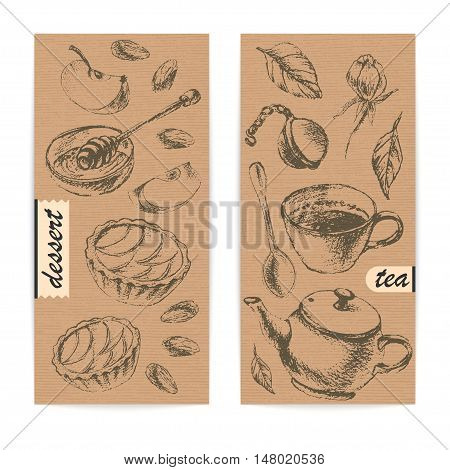 Craft paper design template with tea and dessert. Eco style background. Teapot cup leaf spoon honey apple tart.