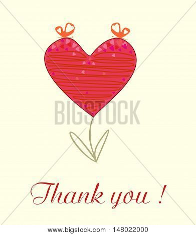 Beautiful background wit abstract heart Thank you editable and scaleable vector illustration
