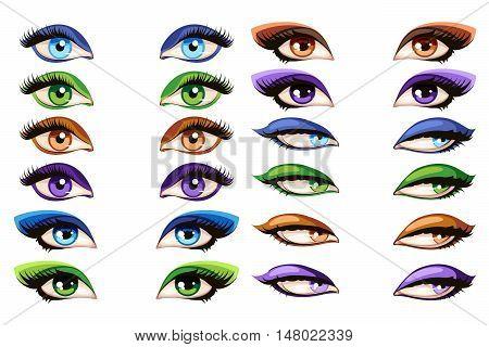 Female eyes vector. Makeup mascara glamour eye set illustration