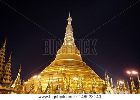 Shwedagon Pagoda at night in Yangon, Burma