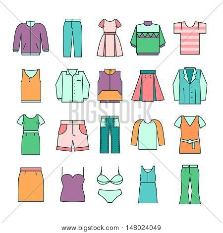 Women clothing icons in flat line style vector. Fashion clothing set and illustration woman dress clothing