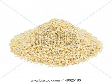 Sesame seeds isolated on the white background