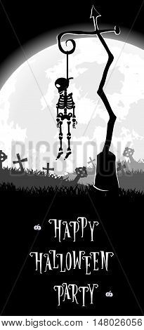 Halloween background. Skeleton hung on a pole in the old cemetery backdrop on scary castle moon and graves. Concept for banner poster flyer cards or invites on party. Cartoon style. Vector illustration