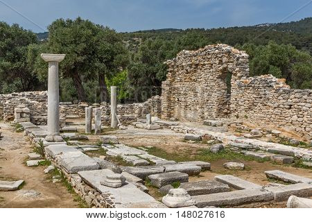 Columns in Ruins of ancient church in Archaeological site of Aliki, Thassos island,  East Macedonia and Thrace, Greece poster