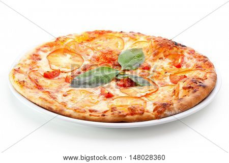 Pizza Margherita made with Cherry Tomatoes, Gauda Cheese and Mozzarella