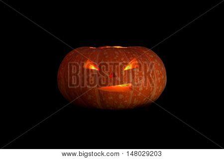 Jack O Lanterns Halloween Pumpkin Face Isolated On Black