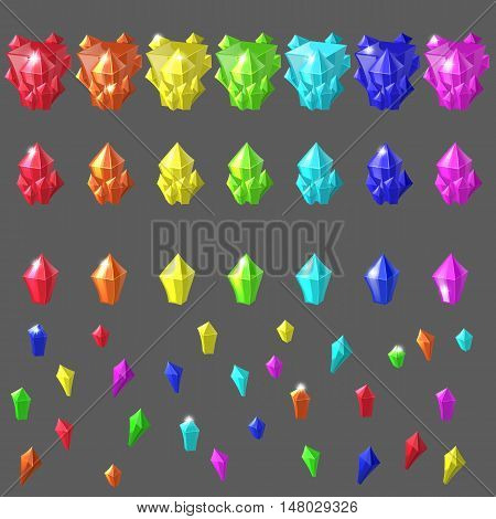 Set of magic crystals. Crystals collection on isolated background vector illustration. Amethyst, topaz, citrine, rose quartz, kyanite, ruby, green gemstone. mine jewels