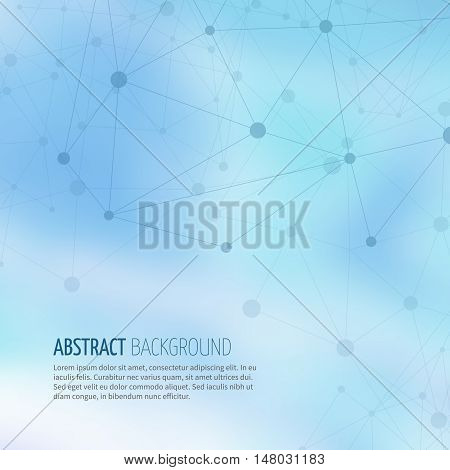 Abstract molecular geometric structure with connected dots and lines on blurred background. Science chemistry molecular connect. Vector illustration