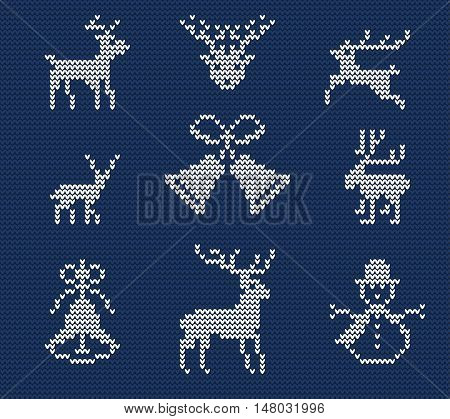 Vector Illustration of Ugly sweater Pattern for Design, Website, background, Banner. Merry christmas Knitted Retro cloth with Deer Element Template