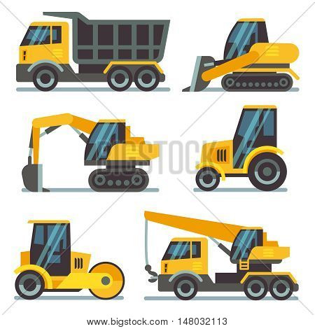 Construction machines, heavy equipment, construction vehicles flat vector icons. Excavator and crane, digger and loader illustration