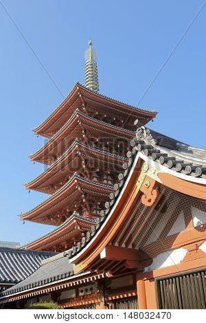 Tokyo famous sensoji temple tower in asakusa