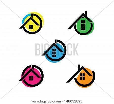 Vector Illustration of icon house flat with color figures