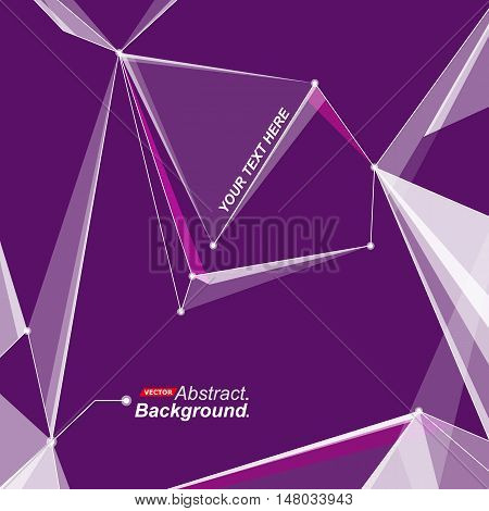 Abstract composition. Minimalistic fashion backdrop design. Purple space star figure icon. Triangle font texture. Modern ad banner. Angle, dot connection fiber. Linking line ornament. Stock vector