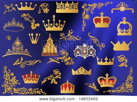 illustration with gold crowns on blue background