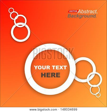 Abstract composition. Minimalistic fashion backdrop design. White circle form icon. Orange font texture. Modern ad banner. Round rings text frame fiber. Chain parts banner ornament. Stock vector