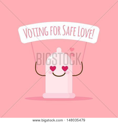 Vector cute emoji condom with poster about safe love. Cartoon sticker.