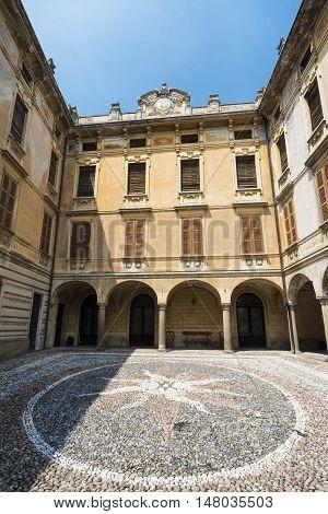 RIVA DI SOLTO, ITALY - JULY 2, 106: Riva di Solto (Bergamo Lombardy Italy) historic village along the lake of Iseo. Palace.