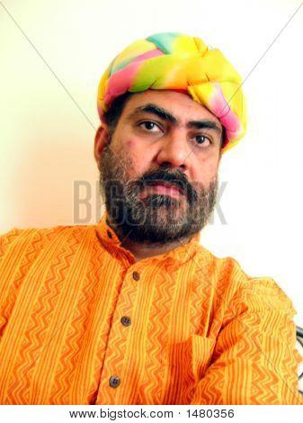 Indian Man In Colorful Turban