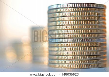 Coins stacked . The concept of market instability