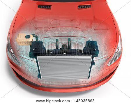 Car Radiator Inside The Car 3D Render On White