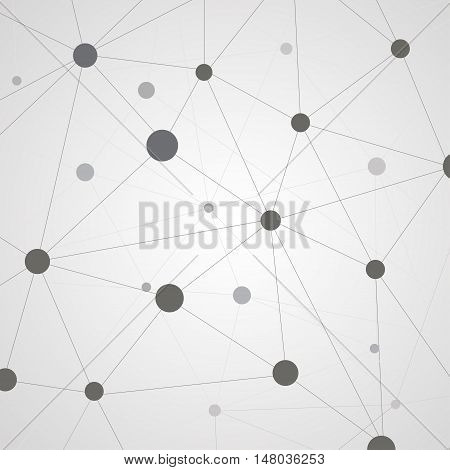 Abstract composition. Minimalistic fashion backdrop design. Black, white molecular icon. Chemical atom font texture. Modern ad banner. Dots connection fiber. Linking line ornament. Stock vector