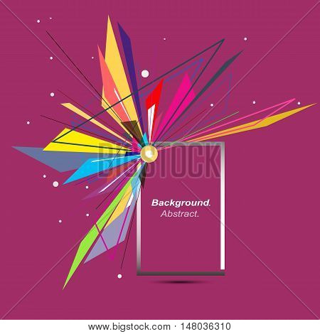 Abstract composition. Minimalistic fashion backdrop design. Explosion icon. Brand logo. Burgundy red font texture. Modern ad banner. Triangles connection fiber. Square box text frame. Stock vector